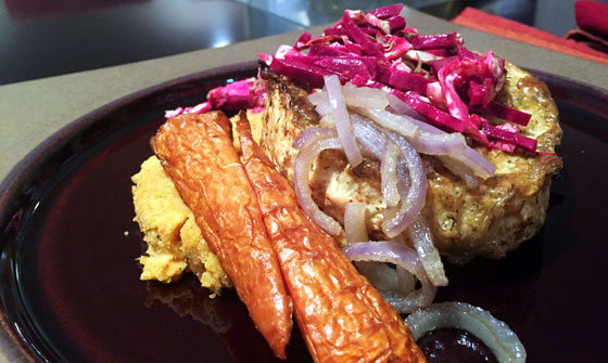 """Celery root """"steaks"""" with chickpea purée, Sautéed onions, Brussel sprouts and beet coleslaw and roasted carrots"""